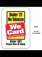 Window/Door Decal Tobacco 21 Year/Under 50
